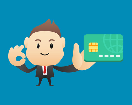 holding credit card: Businessman character holding credit card - vector illustration, EPS10