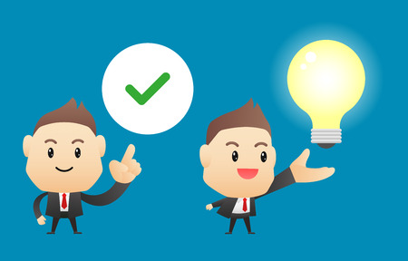character of people: Businessman with ideas(light bulb) - vector illustration, EPS10