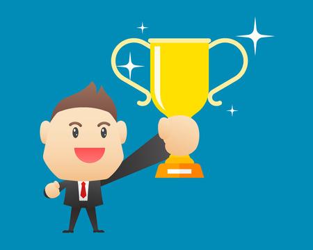 Businessman holding winning trophy - vector illustration, EPS10