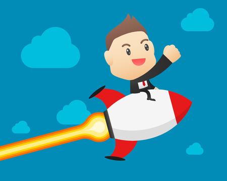 Businessman on a rocket - vector illustration, EPS10