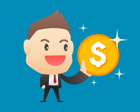 Businessman with coin - vector illustration, EPS10