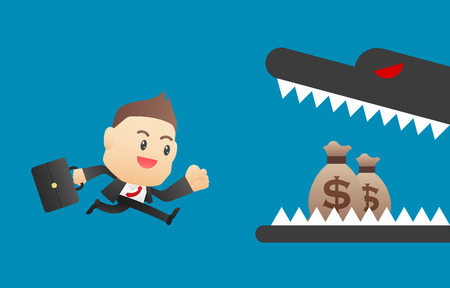 reckless: Careless businessman - vector illustration, EPS10 Illustration