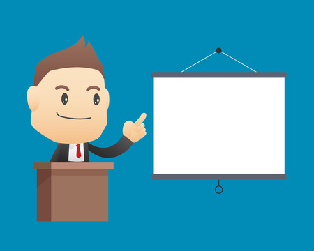 blank board: Businessman with blank board - vector illustration, EPS10