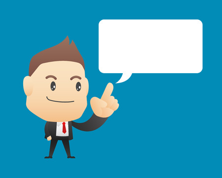 speech bubble vector: Businessman with blank speech bubble - vector illustration, EPS10