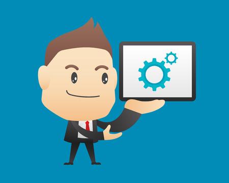 tabletpc: Businessman character holding tablet - vector illustration, EPS10