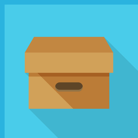 container box: Package icon - vector , eps10 (flat icon , logn shadow) Illustration