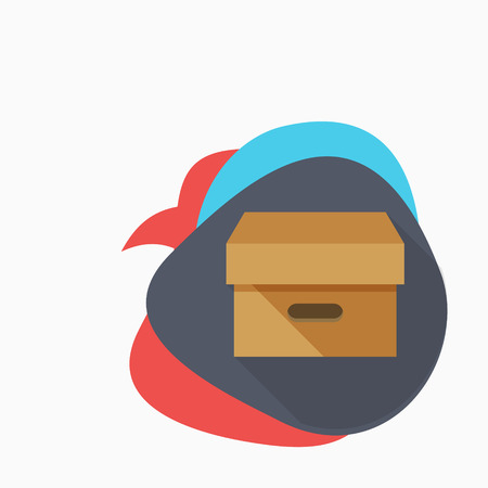 stockpile: Package icon - vector , eps10 (flat icon , long shadow) Illustration