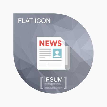 newsprint: Newspaper icon - vector , eps10(flat icon , long shadow) Illustration