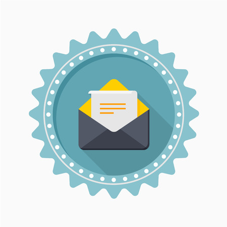 mail icon: Letter icon - vector , eps10 (flat icon , long shadow) Illustration