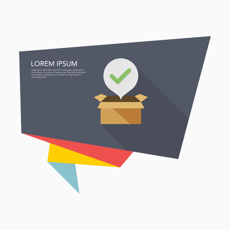 package icon: Open package icon - vector , eps10(flat icon , long shadow)