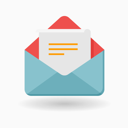 Letter icon - vector , eps10(flat icon , long shadow)