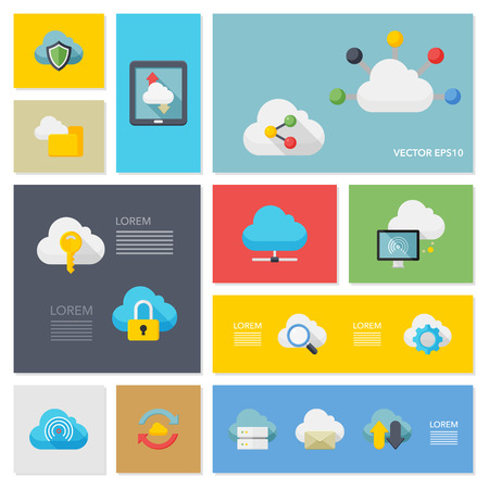 cloud computing technologies: Flat design modern vector illustration icons set of cloud network in stylish colors. Illustration