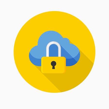 security icon: Cloud security icon, vector illustration. Flat design style with long shadow,eps10