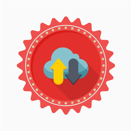 icono guardar: Cloud save icon, vector illustration. Flat design style with long shadow,eps10 Vectores