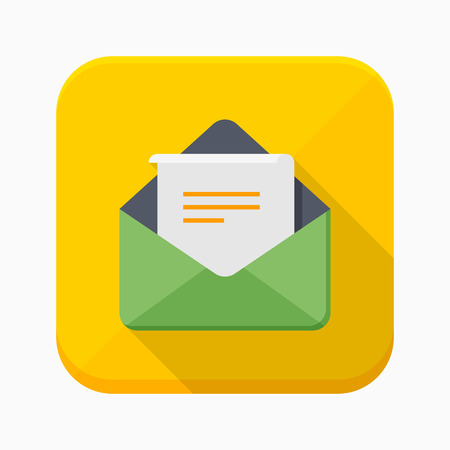 envelope icon: Letter icon - vector , eps10 (flat icon , long shadow) Illustration