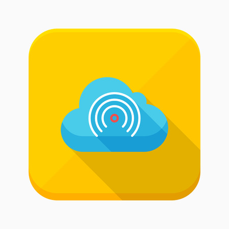 global settings: Wireless cloud services icon, vector illustration. Flat design style with long shadow,eps10