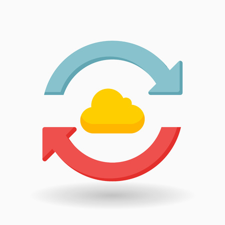 Cloud sync icon, vector illustration. Flat design style with shadow,eps10  イラスト・ベクター素材
