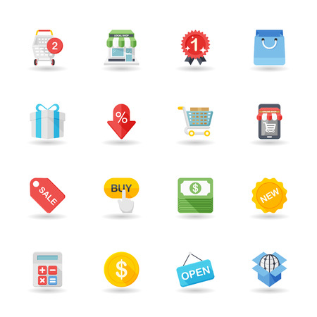 simple store: Flat design modern vector illustration icons set of shopping in stylish colors. Illustration