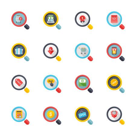 cash box: Flat design modern vector illustration icons set of shopping in stylish colors. Illustration