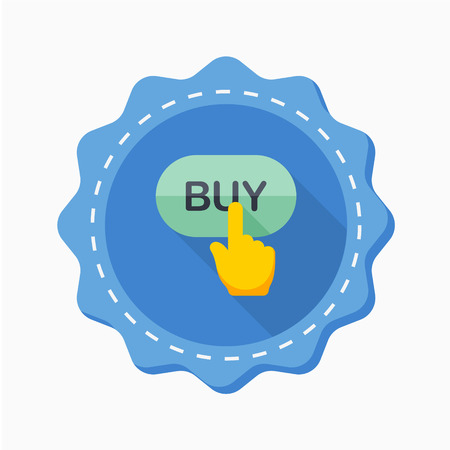 Buy button icon, vector illustration. Flat design style with long shadow,eps10