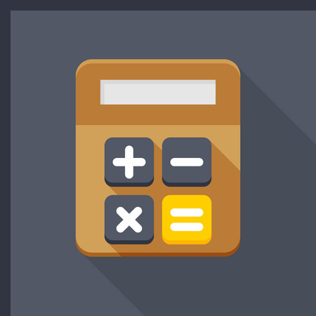 Calculator icon, vector illustration. Flat design style with long shadow,eps10  イラスト・ベクター素材