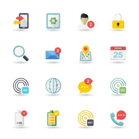 Flat design modern vector illustration icons set of mobile and communication in stylish colors. Ilustração