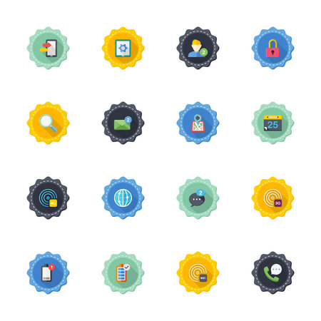 computer message: Flat design modern illustration icons set of mobile and communication in stylish colors.