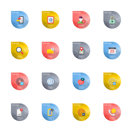 mobile communication: Flat design modern vector illustration icons set of mobile and communication in stylish colors. Illustration