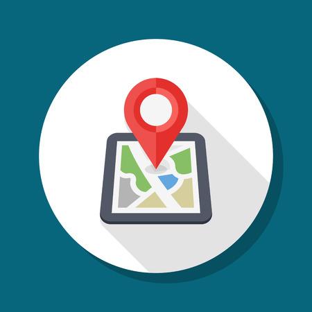 City map icon, illustration.