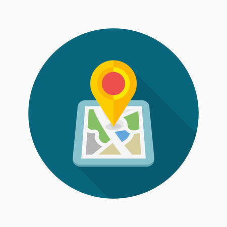 City map icon, vector illustration.
