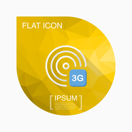 transmit: 3G icon, vector illustration. Flat design style with long shadow