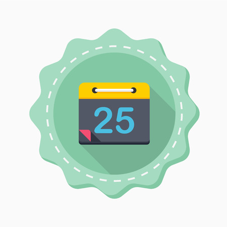 scheduler: Calendar icon, vector illustration. Flat design style with long shadow