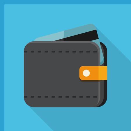 signo pesos: icono de la cartera, ilustración vectorial. estilo de diseño plano con una larga sombra, eps10 Vectores