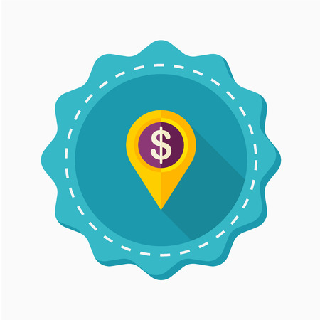 financial position: Money GPS icon, vector illustration. Flat design style with long shadow,eps10 Illustration