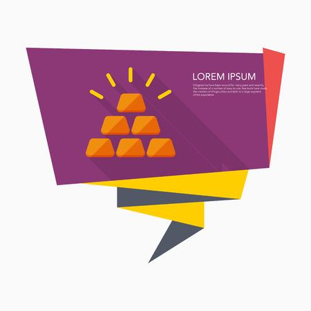 bullion: Gold bullion icon, vector illustration. Flat design style with long shadow,eps10