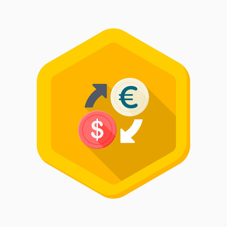 Exchange icon, vector illustration. Flat design style with long shadow,eps10