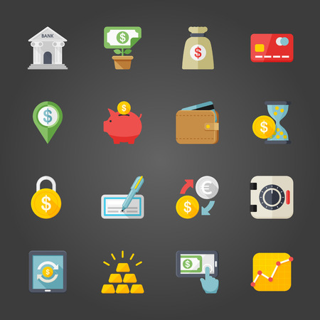mobile banking: Flat design modern vector illustration icons set of finance in stylish colors. Illustration