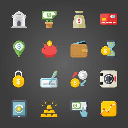 Flat design modern vector illustration icons set of finance in stylish colors. Illustration
