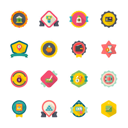 coin bank: Flat design modern vector illustration icons set of finance in badge.
