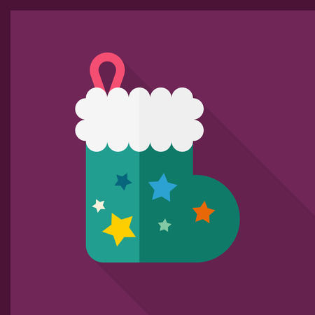 long socks: Christmas gift socks icon, vector illustration. Flat design style with long shadow,eps10