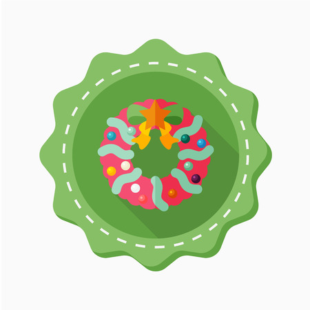 christmas wreaths: Christmas wreaths icon, vector illustration. Flat design style with long shadow,eps10