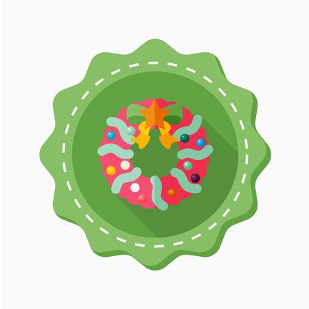 coronas de navidad: Icono de la Navidad guirnaldas, ilustración vectorial. Estilo de diseño plano con larga sombra, eps10