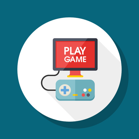 joypad: TV game icon, vector illustration. Flat design style with long shadow,eps10 Illustration