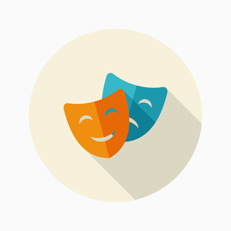 astonishment: Mask icon, vector illustration. Flat design style with long shadow,eps10