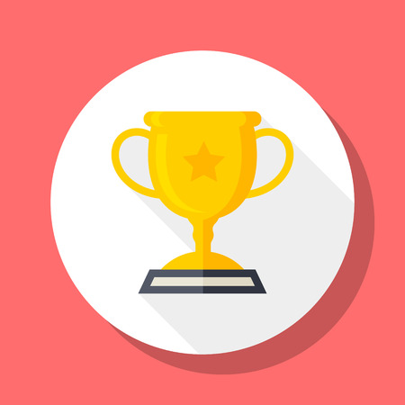 trofeo: Icono Trofeo, ilustración vectorial. Estilo de diseño plano con larga sombra, eps10 Vectores