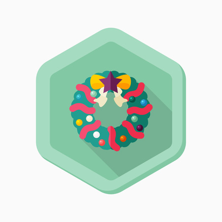 christmas wreaths: Christmas wreaths icon, vector illustration. Flat design style with long shadow