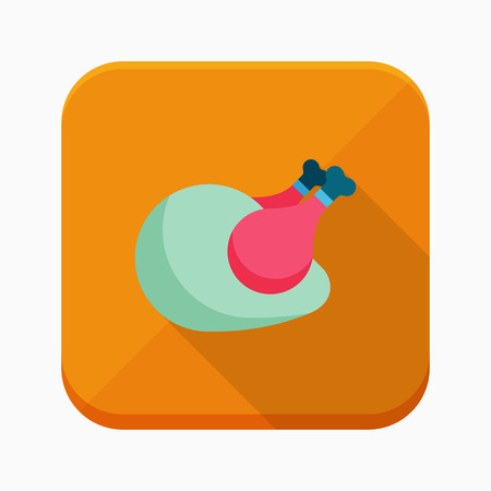 roast chicken: Roast chicken icon, vector illustration. Flat design style with long shadow  Illustration