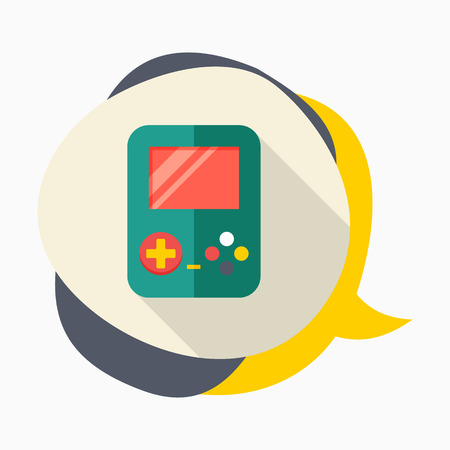 handheld device: Gamepad icon, vector illustration. Flat design style with long shadow