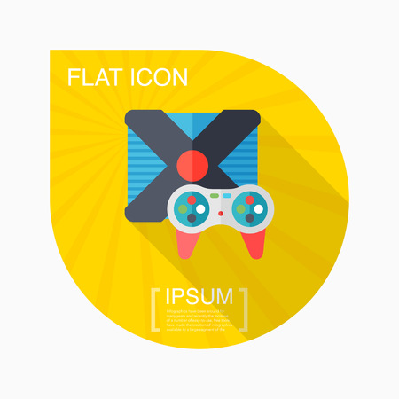 gameplay: Gameplay icon, vector illustration. Flat design style with long shadow Illustration