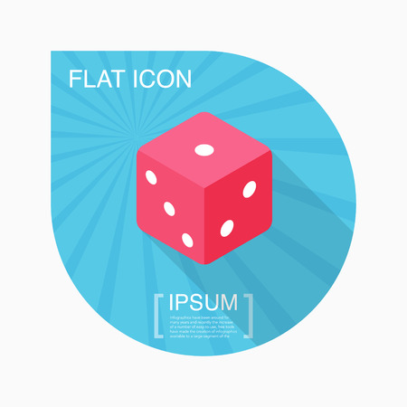 stake: Dice icon, vector illustration. Flat design style with long shadow Illustration